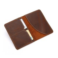 Card Holders Retro Passport Cover Holder Genuine Leather Women Men's Credit ID Cash Money Bag Cowhide Crazy Horse For Travel Business