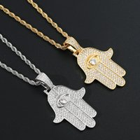 Cubic zirconia Fatima eye Hand necklace jewelry set Bling diamond hip hop 18k gold pendant necklaces women men stainless steel chain Fashion will and sandy dropship