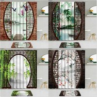 Dusch gardiner 2st Kinesisk stil landskap målning gardin skärm grön bambu plommon blomma fågel fisk badrum icke-slip badmatta set