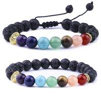 8MM Natural stone 7 Chakra Black Lava Stone Weave Tree Of Life Bracelets Aromatherapy Essential Oil Diffuser Bracelet For Women Men jewelry
