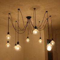 Черный старинный паук подвесной светильник висит люстры длина регулируемая ретро лампа лампы классический потолочный светильник светильник 706 к2
