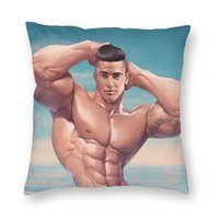 Cushion Decorative Pillow Handsome Gym Sexy Man Muscle Strength Body Art Cushion Covers Sofa Home Decorative Gay Pride Boyfriend Square Case