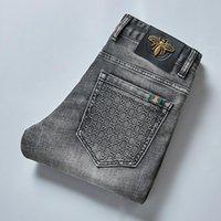 Herfst heren jean katoen slanke elastische mode zakelijke broek klassieke stijl denim broek mannelijke grijze kleur