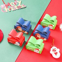 30 piezas 3 colores Caja de regalo clásica para Navidad Candy Wrapping Dibujos animados Festival Impreso Estuche de papel Cajas de galletas Santa Claus P