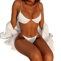 Bikini 2021 Europa y América MS Sexy Split Skills Traje de baño Cadena de moda Beachwear Beachwear con soporte de acero con almohadilla de pecho Nuevo estilo
