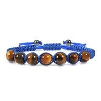Con cuentas, hebras con cuentas abatidas pulsera natural lava piedra tigre ojo de 8 mm perlas para mujeres hombres moda yoga encanto joyería gota