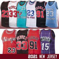 NCAA MJ 33 Scottie 91 Dennis Pippen Rodman 15 Vince 23 Michaeljd Carter Retro 1995 1996 Ness Jerseys de basketball