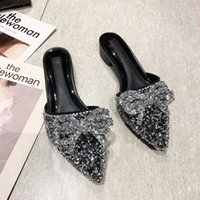 half women's thick net Red Rhinestone lazy shoes one foot pedal autumn low heel cool slippers women