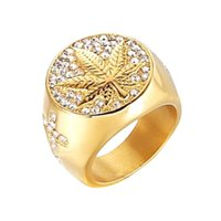 Bangle 2021 Men's Large Leaf Zircon Ring European American Hip Hop | European And American Hip Decorated Ring