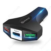 3 في 1 لاسلكي 3.0 3 شاحن سيارة USB شاحن سريع المحمول 3ports شاحن سريع للسيارة حامل الهاتف شحن محول لفون xiaomi redmi