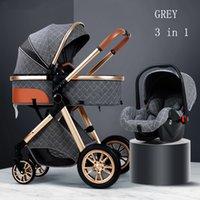 Passeggino di lusso 3 in 1 Bambino Royal in pelle cornice in alluminio Alto paesaggio pieghevole Pieghevole Kinderwagen Pram con gifts carrello