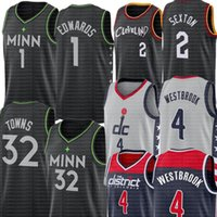 Neue Russell 4 Westbrook Jersey 1 Anthony Black Edwards Jerseys Karl-Anthony 32 Städte Collin 2 Sexton Basketball-Trikots 20/21