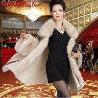Scarves 2021 Plus Size Long Sleeve Cardigan Cloak Coat Women Autumn And Winter Patchwork Fur Collar Poncho Imitation Cashmere