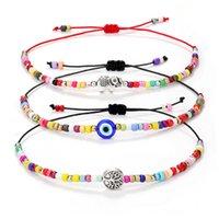 Handmade Braided Evil Blue Eye Bracelet Chain Elephant Tree of life Charm Rainbow Seed Beads Bracelets for Women Girls Pulseras Mujer