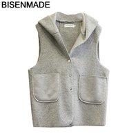 BISENMADE Oversize Women's Winter Vests Warm New 2021 Hooded Loose mid-long Lamb Fleece Vest Jacket