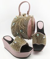 Dress Shoes Elegant Pink Set African Wedge Heel Slippers With Handbag Women And Bag Summer Pumps MD014 Height 9CM