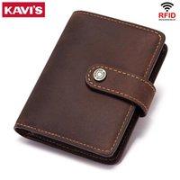 Card Holders KAVIS 2021 100% Genuine Leather ID Men Wallet Small Mini Business Holder Male Walet Pocket Retro