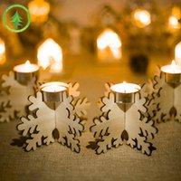 Artículos decorativos Campado de copo de nieve de madera con decoraciones navideñas 4 en una caja