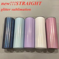 sublimation glitter straight mugs tumbler 20oz shimmer tumblers Shiny slim cup Stainless Steel vacuum taper cups DIY travel mug