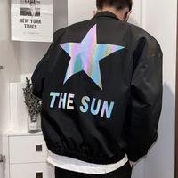Reflective Star Hip Hop Jacket Autumn Printed Men's Korean Streetwear Social Glitter Coat Bomber Club Outfit Men