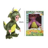 Canto caminando Muñeca eléctrica 3D caminando Muñeca rellena en forma de dinosaurio Un juguete lindo de regalo de muñecas para niños