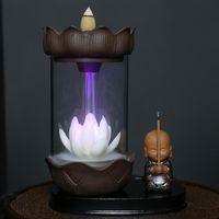 Duftlampen 1 stück LED Backflow Räucherbrenner Rot Porzellan Lotus Mönch Winddicht Halter ZENSER