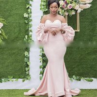 Sweetheart Blush Pink Evening Dresses With Detachable Puff Long Sleeves African Women Mermaid Celebrity Dress vestidos de fiesta