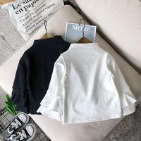 2020 2-8y طفل رضيع فتاة الأزياء الملابس 2 قطع الأبيض الصلبة مضيئة طويلة الأكمام بلوزة + الدنيم مريلة اللباس عارضة الملابس سقوط مجموعة 144 Y2