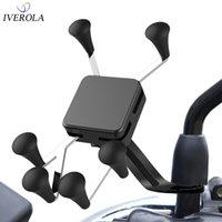 Soporte para teléfono inteligente de la célula de montaje del teléfono de la motocicleta UNIVEROLA para el espejo retrovisor con el soporte de giro 360 para el soporte de la motocicleta GPS