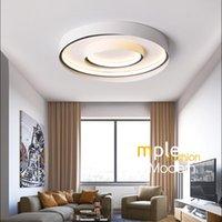 Plafonniers blanc noir LED moderne pour salon chambre à coucher DIMMABLE Lampe à intérieure ronde en intérieur Sqaure luminaires Lustres