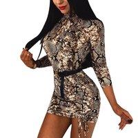 여성 섹시한 보디 콘 긴 소매 이브닝 파티 드레스 터틀넥 뱀 피부 인쇄 드레스 슈즈 클럽 짧은 미니 드레스