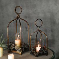 Porte-bougie en fer forgé rétro creuse suspendu oiseau cage bougie porte-bougie lanterne décoration de mariée rétro maison décoration