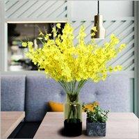 Flores decorativas grinaldas 93cm amarelo flor artificial dançando senhora orquídea falsa jardim mesa de mesa casa decoração casamento arco simulati