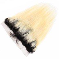 1B 613 어두운 뿌리 꿀 금발 13x4 정면 귀에 귀에 표백 된 노트 아기 머리카락 브라질 레미 스트레이트 미리 뽑힌 정면