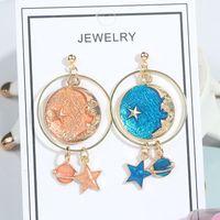 Fashion Blue Space Universo Luna Luna Star Pendientes para Mujeres Color de oro Planeta Círculo Largo Cuelga Araña 3656 Q2