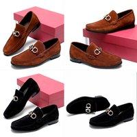 2021 Calidad Set Pie Hombre Zapatos Formales Cuero genuino Patrón de Negocio Plano Diseñador Ocio Negro Brown Plaid Office Tamaño 38 ~ 46