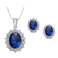 IPARAM 2019 Fashion Silver Color Blue Crystal Ювелирные изделия Люкс Урожай Партия Падение воды CZ Ожерелье изысканные украшения