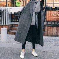 Women's Wool & Blends Woolen Coat Women Lattice 2021 Autumn Winter Thicken Warm Korean Fashion Long Sleeve Loose Casual Simplicity