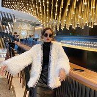 Women's Leather & Faux Elegant Red Tassel Lambswool Fur Coat Winter Korean Fashion Warm Cardigan Outerwear Luxury Beading Thicken Wool Jacke