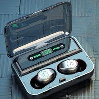 TWS F9 F9-5 무선 이어폰 블루투스 V5.0 미니 스마트 터치 이어 버드 LED 디스플레이 1200mAh 전원 은행 헤드셋 및 마이크