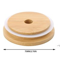 غطاء كاب الخيزران 70 ملليمتر 88 ملليمتر قابلة لإعادة الاستخدام غطاء جرة خشبي ماسون مع ثقب القش وسيليكون ختم NHD9934