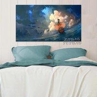 Pinturas de una pieza de la nave Thousand animado cartel enmarcado marco de madera Pantalla decoración de la pared del dormitorio principal imprime la decoración del dormitorio Pintura