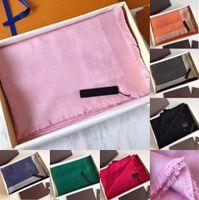7 colori Sciarpe per le donne Sciarpa da uomo Lussurys Pashmina Top Quality Silk Cotton Blend Fashion Seta Sciarpa Sciarpa Sciarpe Sciarpe con scatola
