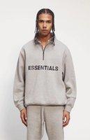 Niebla Esenciales Hombres Mujeres Sudaderas Half Zip Streetwear Pullover Cuello alto Casual Puentes de gran tamaño Hip Hop Skateboards