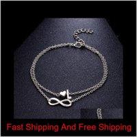 Винтаж 26 буквенные браслеты браслеты женские женские Первоначальные сердца бесконечности шарм богемный друг друзья ювелирные изделия подарок лодыжки Bangl Qylina LuckyHat