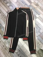 Gucci suit primavera y otoño nueva chaqueta de rayas de hombres pantalones corriendo traje de sudor absorbente transpirable moda deportes deportes al aire libre ropa casual