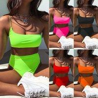 Badeanzug Solide Farbe Hohe Taille Zweiteiliger Badeanzug Damen Designer Swimwear Bini Mode Lässig Frauen Kleidung 2021 Sommer Bikinis