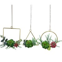 Decorative Flowers & Wreaths Set Of 3 Artificial Succulent Plants Floral Hoop Wreath Green Leaves Garland For Wedding Backdrop Nursery Wall