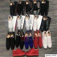 Designer Red Bottom But Niski Cut Suede Spike Luxury2020 Dla Mężczyzn I Kobiet Buty Party Wedding Crystal Leather Sneakers