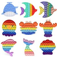 Sea World Whale Dolphin Proste Fidget Toy Push Sensory Toy Relief Anti-Stres Reliver Toys Push Game Push Zabawki DHL US Stock